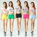 Doce Cor Plus Size Mulheres Casual Elastic Shorts Das Senhoras Shorts de Algodão Stretch Calças Bolso Calças Jeans Femininas Femininos JS-5469