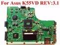 Para asus k55vd rev: 3.1 chipset hm76 ddr3 placa madre del ordenador portátil 610 m 2 gb placa base 100% probado nave rápida