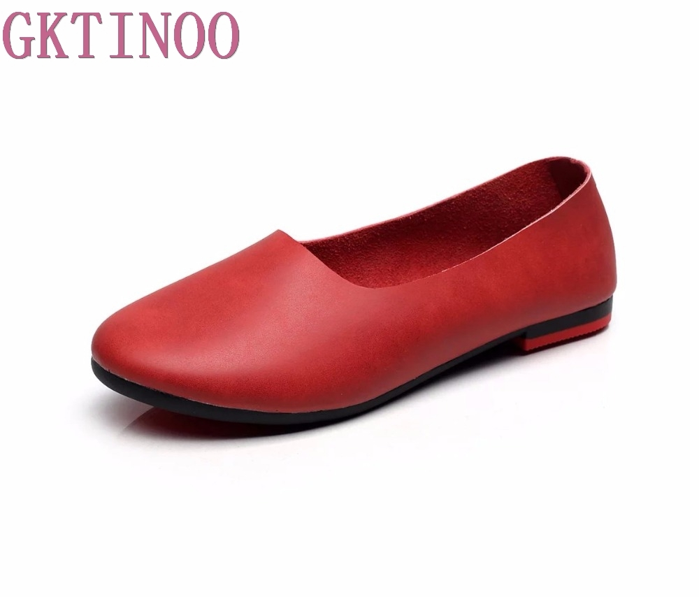 2018 Retro Shoe For Women Handmade Shoes Genuine Leather Soft Flats Autumn Driving Shoes Round Toe Women Flats large size 10pcs 190 380
