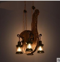 American Pendant Lights  retro LOFT industrial wind creative personality solid wood art musical instrument Pendant Lamps ZA