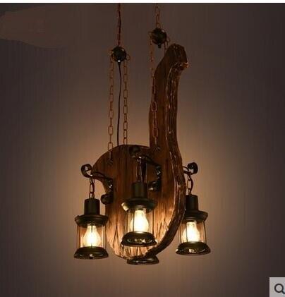 American Pendant Lights  Retro LOFT Industrial Wind Creative Personality Solid Wood Art Musical Instrument Pendant Lamps ZA