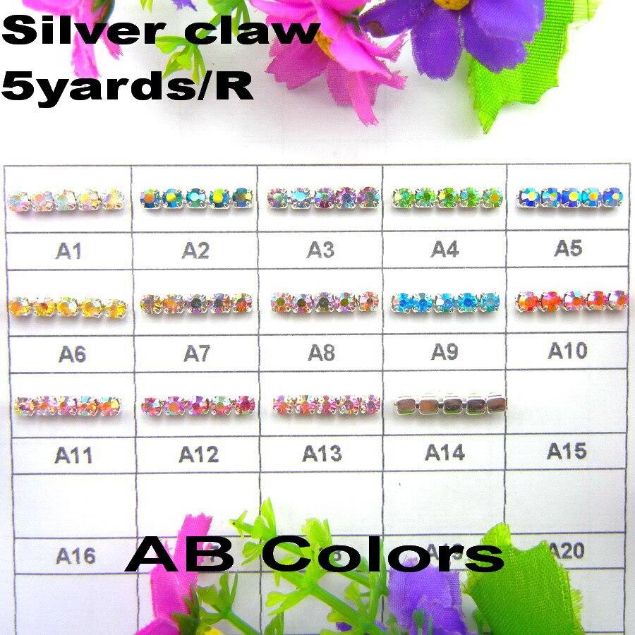5 ярдов/рулон высокой плотности серебро база AB цвета ss6 2 мм ss8 мм 2,5 ss10 мм 2,8 ss12 мм 3 горный хрусталь цепочка со стразами пришить клей на отделкой
