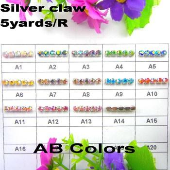 5yards Roll High density Silver base AB Colors ss6 2mm ss8 2.5mm ss10 2.8mm  ss12 3mm rhinestone cup chain Sew On glue on trim b67cb765c1b3