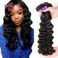 7A Auréola Senhora Produtos de Cabelo 4 Feixes de cabelo Virgem Profundo Solto cabelo Tece 1B Não Transformados Peruano Solto Onda Profunda Do Cabelo Humano extensões