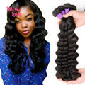 7A Halo Lady Hair Products 4 Bundles Loose Deep Virgin Hair Weaves 1B Unprocessed Peruvian Loose Deep Wave Human Hair Extensions