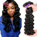 7A Halo Lady Hair Products 4 Bundles Loose Deep Virgin Hair Weaves 1B Unprocessed Peruvian Loose Deep Wave Human Hair Extensions