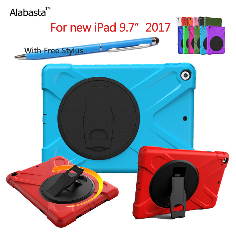 Alabasta For new iPad 2017 case Shockproof 360 rotating support With Stand Case For new iPad 9.7 inch 2017 case +stylus alabasta case for new ipad 9 7 2017 case