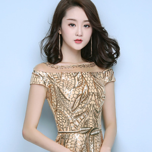 Image 3 - FADISTEE New arrival elegant party dress evening dresses prom bling sequins mermaid gold sashes long short sleeves simple style