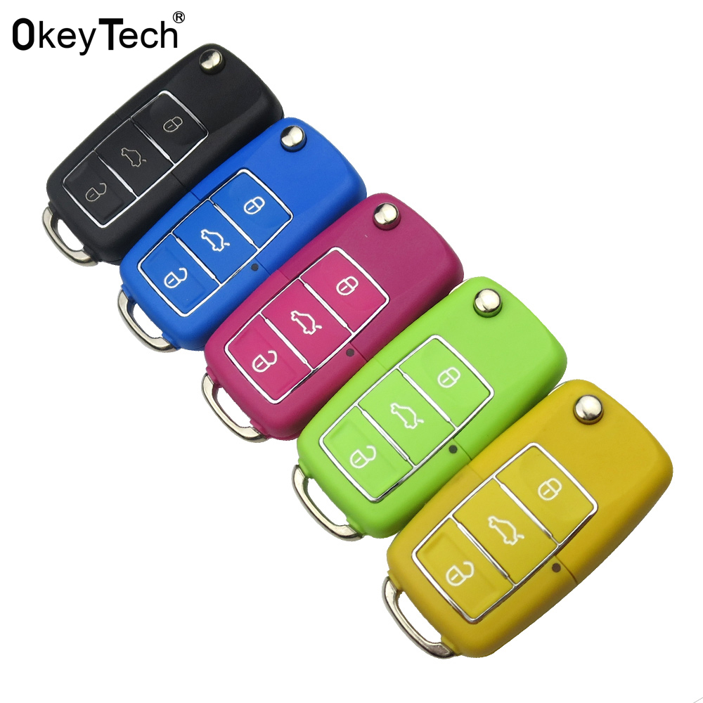 OkeyTech Colorful Car Key Shell Cover for VW Skoda seat Octavia 3 Buttons Flip Folding Remote Key Case 4 colour With Uncut BladeOkeyTech Colorful Car Key Shell Cover for VW Skoda seat Octavia 3 Buttons Flip Folding Remote Key Case 4 colour With Uncut Blade