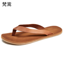 Cowhide Mens Flip-flops Rubber Slippers Personality Men Sandals fender summer men genuine leather slippers outdoor