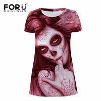FORUDESIGNS 2017 Brand Women Dress Clothes Hot 3D Skull Printed Party Dresses O Neck Short Sleeved