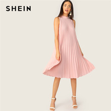 SHEIN Pink Mock Neck Cut-out Tie Back Pleated Tunic Party Midi Summer Dress Women Sleeveless Shift Straight Solid Cute Dresses(China)