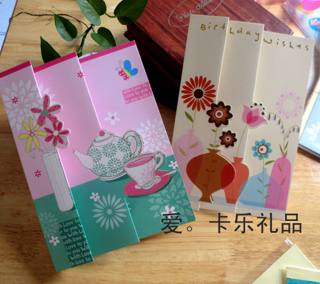 6pcs Lot Creative 3D Fold Design Greeting Cards With Envelope For Valentine Day Birthday Christmas