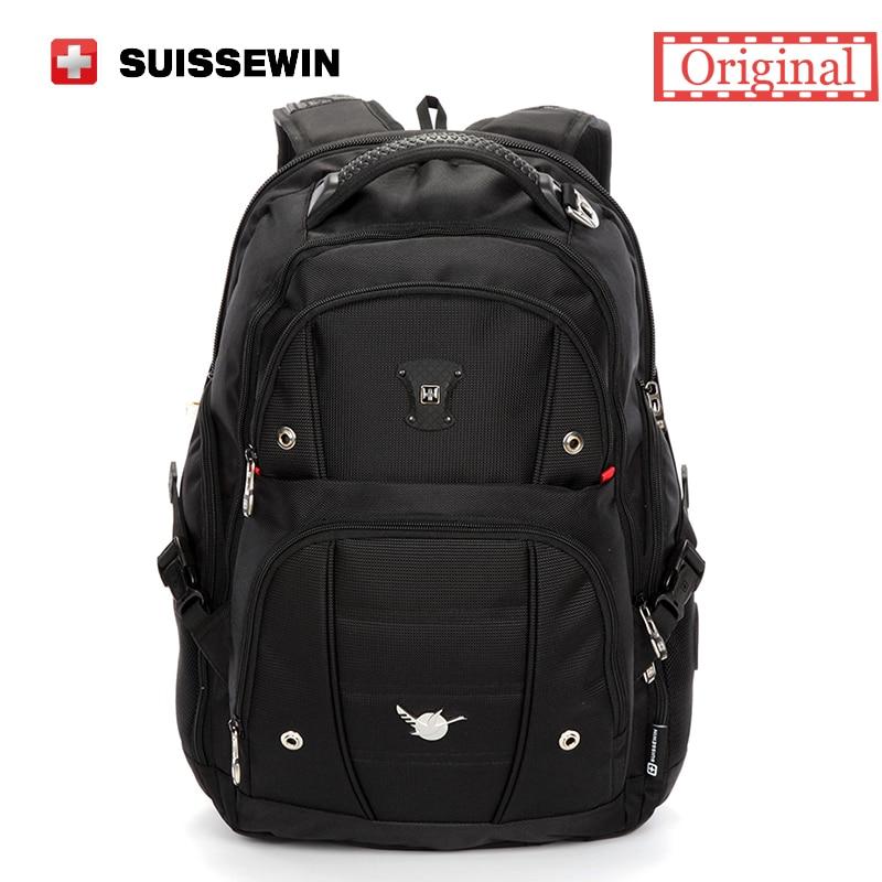 ФОТО Suissewin Brand Casual Men's Daily Backpack SN9808 Large Capacity Black Backpack Business Waterproof Laptop Bags School Backpack