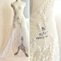 Branches Leaves Pattern Embroidery Lace Fabric ,High end Bridal Lace Fabric ,DIY Bridal Fabric Accessories