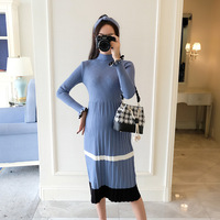 Fashion Pleated Pregnancy Dress Autumn Winter Maternity Knitted Dress Clothes for Pregnant Women Elegant Maternity party dresses