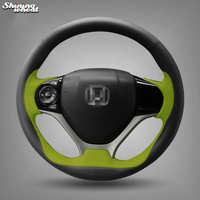 BANNIS Black Green Leather Hand stitched Steering Wheel Cover for Honda Civic 2012 2013 2014 Car Special