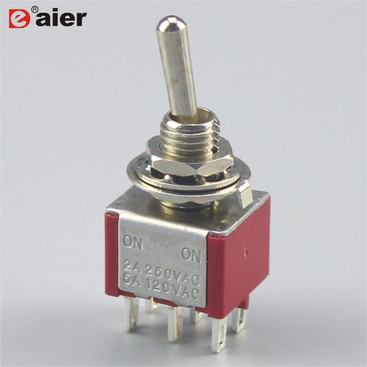 100PCS ON OFF ON Momentary Miniature Toggle Switch AC 3A 250V 6A 125V DPDT Switches 6