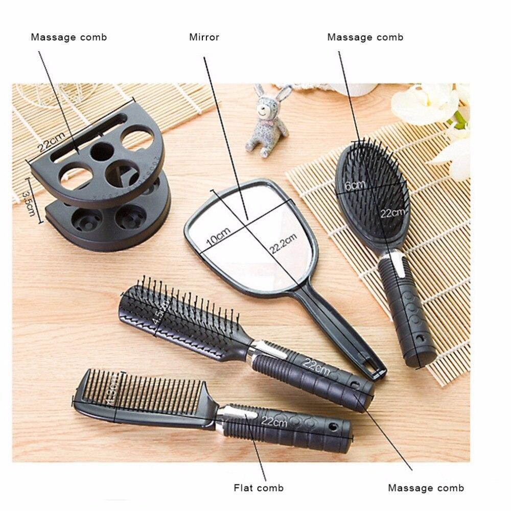Купить с кэшбэком High Quality Plastic Salon Hair Comb And Mirror Set Hair Brush Massage Comb Mirror Holder Hairbrush Styling Tools