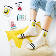 Korea 5pairslot cotton socks women funny socks cute version of the school wind funny wild cartoon socks casual harajuku white