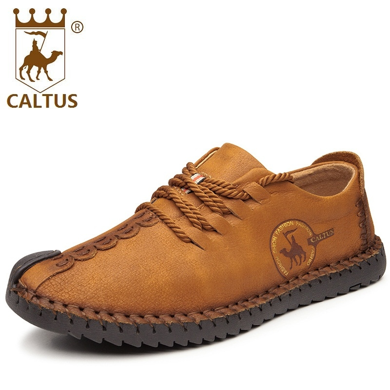 CALTUS 100% Genuine Leather Men Casual Shoes 2017 High Quality Lace Up Men Oxfords Shoes Flats Wedding And Party AA20535 high quality genuine leather men shoes lace up casual shoes handmade driving shoes flats loafers for men oxfords shoes