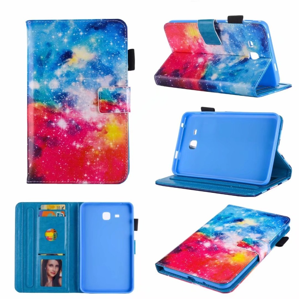 For Samsung Galaxy Tab A 7.0 SM-T280 SM-T285 Funda Cartoon Print Wallet PU Leather Cover For Samsung T280 T285 Case Tablet Case