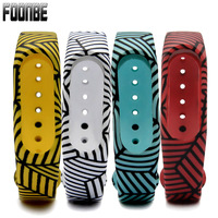 Foonbe For Mi Band 2 Stripe Printed Replace Strap for Xiaomi Silicone Wristbands for MiBand 2 Bracelet For Xiaomi 2 Strap