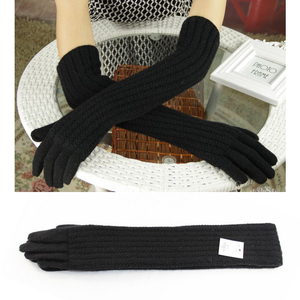 Image 3 - Guantes de lana de 45cm de largo para mujer, cálido tejido para invierno, modernos, negro, marrón, gris, codo, 2019
