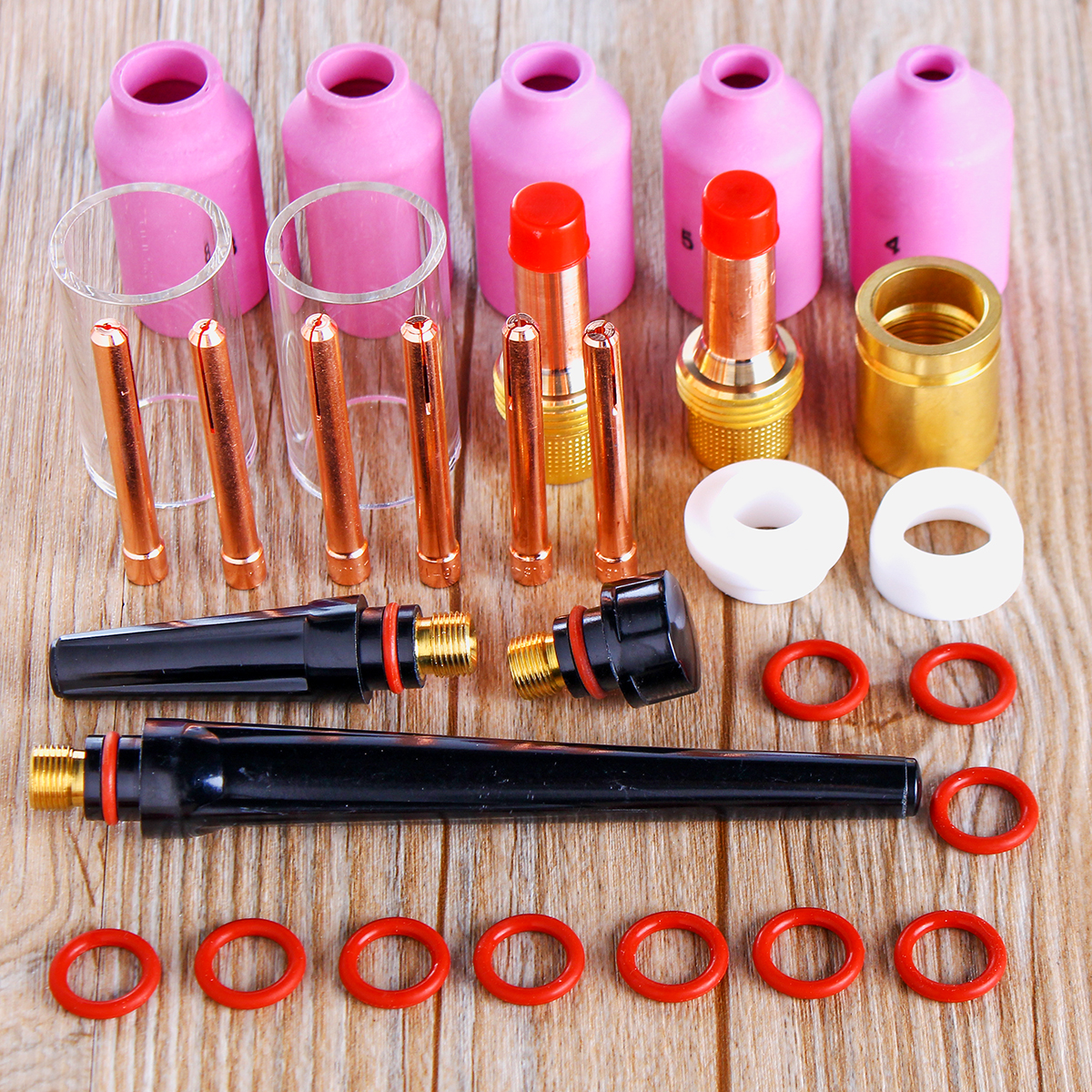 31Pcs TIG Welding Torch Stubby Gas Lens Glass Pyrex Cup Collect Body Kit for WP-17/18/26 Series Welder Tool Accessory