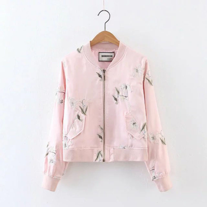 Floral Embroidery Pink Women Bomber Jacket Tops 2017 Autumn New Arrival Europe Style Casual Long Sleeve Femme Jacket Coats women s embroidery bomber jacket 2017 autumn high quality floral printed jacquard black