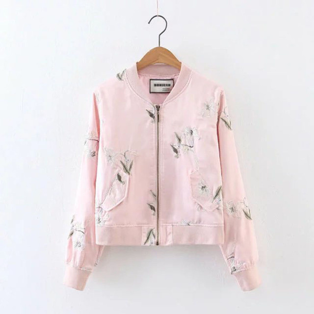 Floral Embroidery Pink Women Bomber Jacket Tops 2017 Autumn New Arrival Europe  Style Casual Long Sleeve Femme Jacket Coats 75023384b