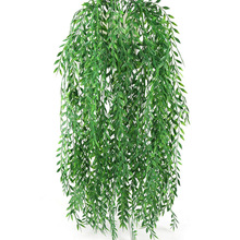 55cm Artificial Flowers Rattan Fake Leaves Wall Hanging Green for Home Garden Decoration Willow Vine plants