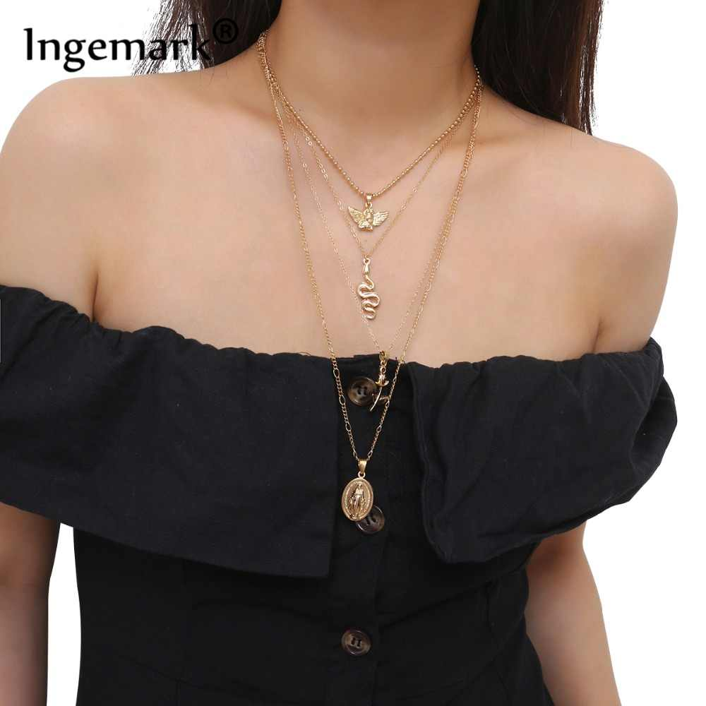 Ingemark Vintage Virgin Mary Pendant Choker Necklace Charm Golden Rose Flower Angel Snake Long Chain Necklace for Women Sweater