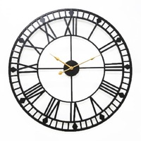 Rust colored retro old creative ironwork home living room wall decoration Roman clock metal wall decorations living room