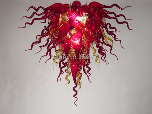 New Elegant Pure Red Murano Dinning Room Chandelier Lights