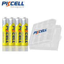4pcs PKCELL 1.2V 1200mAh AAA Battery NI MH aaa Rechargeable Batteries with 1PC Battery Box holder For Flashlight Toys Microphone