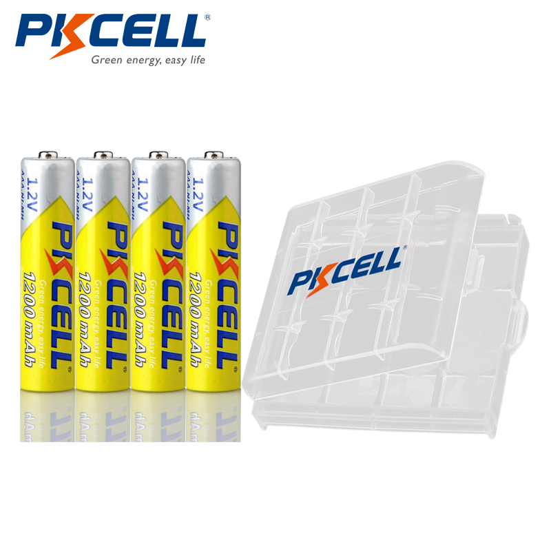 4pcs PKCELL NIMH AAA Battery 1.2V 1200mAh NI-MH Aaa Rechargeable Batteries For Flashlight Toys Microphone With 1pcs Battery Box