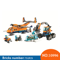 BELA 10996 731pcs City Series Arctic Supply Plane Bela Building Blocks Compatible With 60196 Brick Toys For Children
