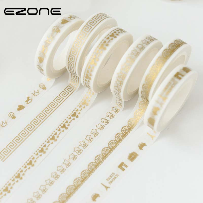 EZONE 8mm*7m Creative Print Gold Washi Tape DIY Scrapbooking Masking Craft Adhesive Lace Tape Stationery School Office Supplies 2017 new arrival masking decorative tape day of the week black white school stationery scrapbooking tool office adhesive tape 7m