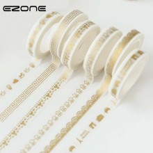 EZONE 8mm*7m Creative Print Gold Washi Tape DIY Scrapbooking Masking Craft Adhesive Lace Tape Stationery School Office Supplies