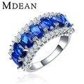 MDEAN oro Blanco plateado para las mujeres anillos joyería de las mujeres anillos de bodas de diamante de LA CZ anillo de compromiso de zafiro joyas bijoux MSR132