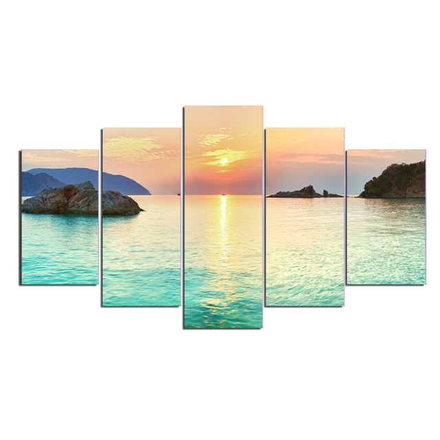 5 Panels Sunrise On Clean Green Sea Canvas Prints for Living Room ...
