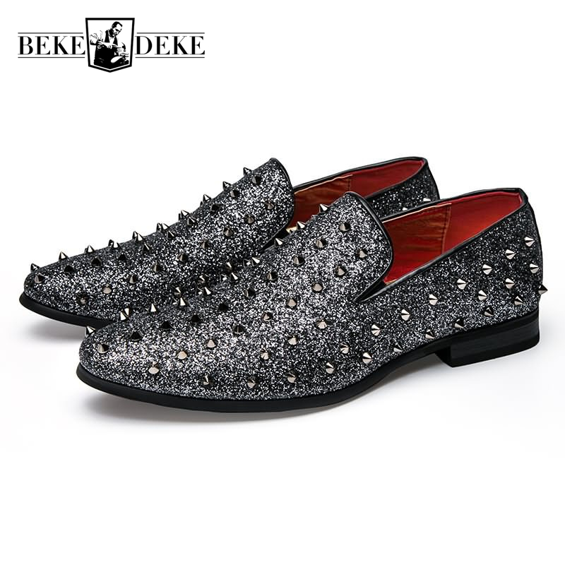 Loafers Korean Style Plat Casual Shoes Man Faux Leather Breathable Slip On Comfortable Male Footwear Rivet Black Silver Big Size bfdadi big size 62cm 2017 faux leather