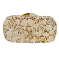 Luxury crystal clutch evening bag Golden rose flower party purse women wedding bridal handbag pouch soiree pochette SC013