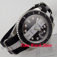 Bliger 40mm black white dial luminoso de cerâmica moldura relógio de movimento Automático 150