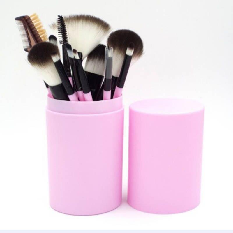 все цены на 12PCS Eye Makeup Brush Set Eyeshadow Eyeliner Blending Pencil Makeup Brushes Handle Round Box онлайн