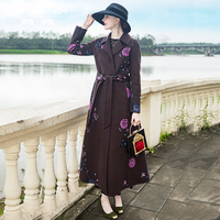 Womens Coats Winter OL Style Wool Warm Long Coat British Style Long Coat Embroidery Lady Overcoat 9019