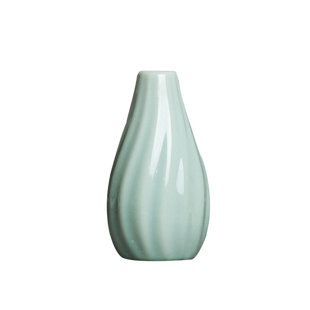 Цветочная ваза горшок для дома Цветочная композиция керамическая ваза в полоску классические свадебные офисные творческие украшения для дома Декор украшения - Цвет: cyan