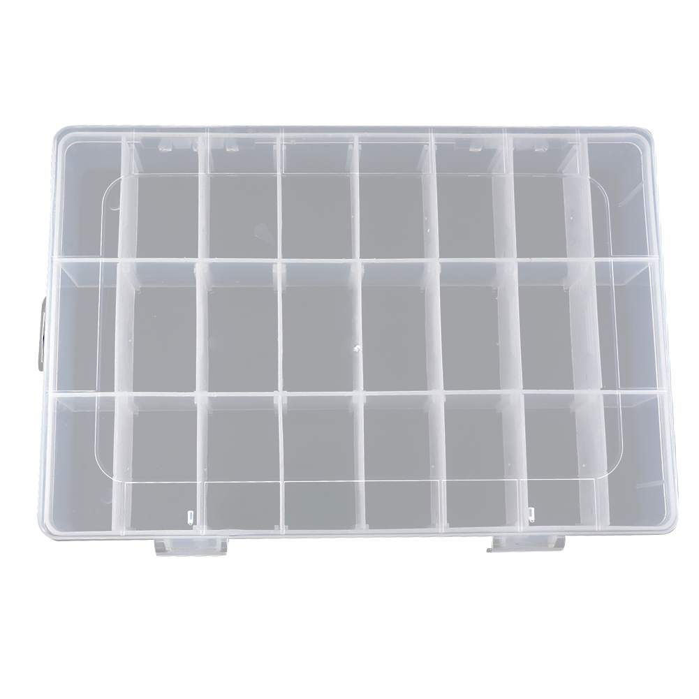 все цены на Shockproof 24/15 Slots Transparent Fishing Box Removable Board Plastic Fishing Lure /Hook Storage Case Fishing Tackle Box