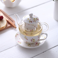 New Heat Resistant Glass Ceramic Bone China Tea Pot with Filter Gongfu Tea Set Black Tea Flower Teapot with cup
